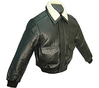 cd736a68480 Black Leather Men s Bomber Jacket ( 299-0) at Amazon Men s Clothing ...