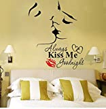 wall decals kiss - Lovers Kiss Wall Murals Always Kiss Me Goodnight Wall Sticker with Quote Wall Decor Vinyl Wall Art Wall Decor for Sofa TV Background Living Room Bedroom Decor,2Pcs/Set(Lovers Kiss)