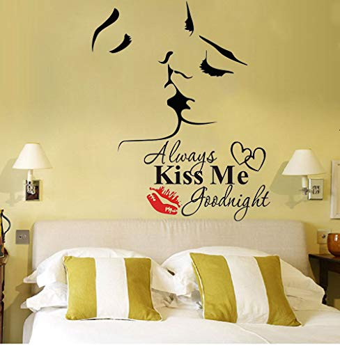 Kiss Wall - Lovers Kiss Wall Murals Always Kiss Me Goodnight Wall Sticker with Quote Wall Decor Vinyl Wall Art Wall Decor for Sofa TV Background Living Room Bedroom Decor,2Pcs/Set(Lovers Kiss)