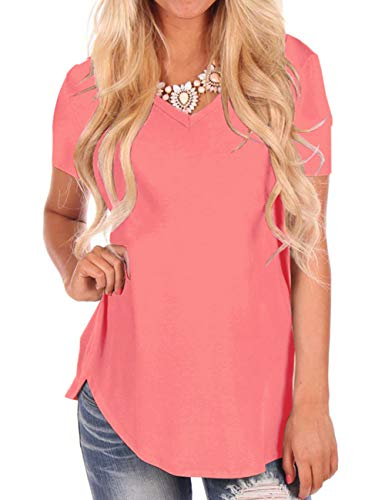 Plus Size Tees for Women Summer T-Shirt Loose Fit Tops Basic Short Sleeve Blouse (Coral Plus Size Women)