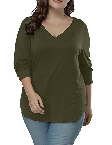 Allegrace Women's Long Sleeve T Shirts Asymmetric Hem Plus Size Casual Tee Tops Army -