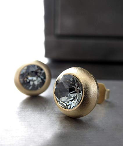 (Matte Gold Plated Stud Earrings with Black Diamond Swarovski Crystal, Unisex Mens Womens Post Studs)