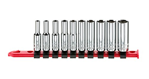 (ARES 70403-10-Piece 1/4-Inch Drive SAE Mid Length Socket Set - 6-Point Sockets Constructed from Premium Heat Treated Chrome Vanadium Steel - Storage Rail Included)