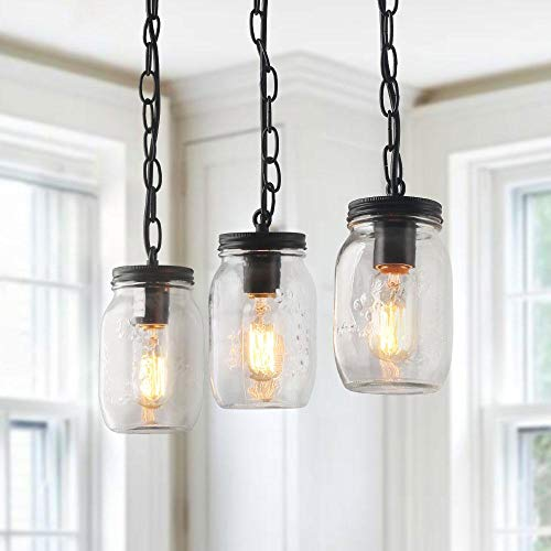 LNC Mason Jar Pendant Lighting for Kitchen Island Dining Rooms Chandeliers, A03222 (Country Lighting Kitchen)