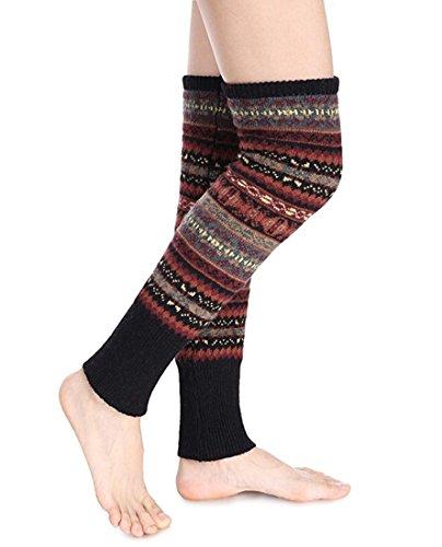 Santwo Women Knee High Socks Winter Bohemian Boot Cuffs Knit Crochet Leg Warmers -