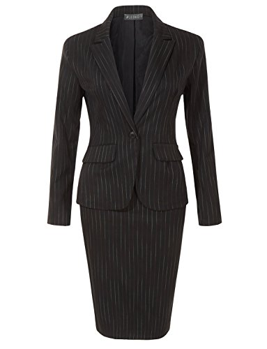 Striped Womens Skirt Suit (LE3NO Womens Fitted Single Button Striped Blazer and Knit Pencil Skirt Suit Set)