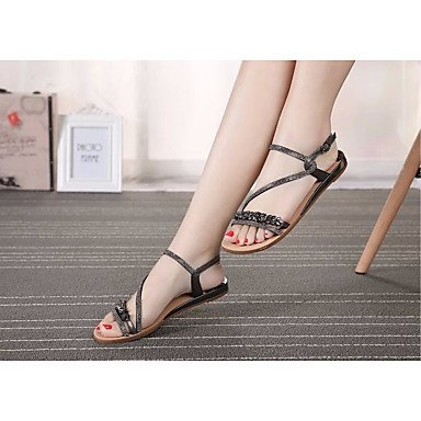UE39 sandalias Oro libre aire zapatos 5 Verano CN40 Moda 5 tacones de Mujer US8 Confort al PU RUGAI Silver UK6 casuales de pasear UE qxXZHw6Sa