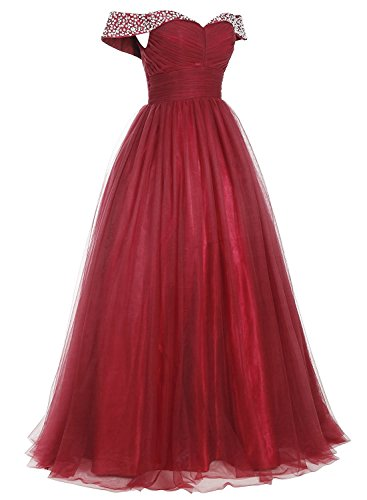 Dress Women Evening line Shoulder A Tulle Gown Champagne for Ball Formal Beaded Off Prom Long cAzqZ1OWW