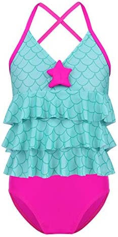 ACSUSS Kids Girls 2PCS Mermaid Bikini Set Swimsuit Ruffled Halter Crop Tops Vest with Bottoms Swimwear
