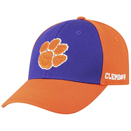 Top of the World NCAA-Premium Two Tone with Team Colors-One-Fit-Memory Fit-Hat Cap-Clemson Tigers-One Size Fits Most