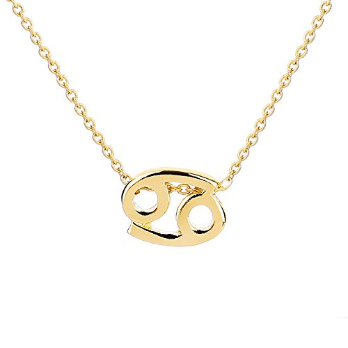 Cancer Sign Horoscope Zodiac (ForeveRing Z Message Card 12 Constellations Necklace Cancer Necklace 12 Zodiac Sign Tag Pendant Birthday Gifts Woman Jewelry)