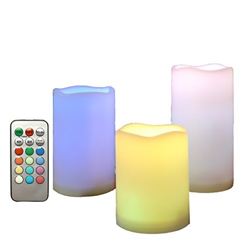 Candle Choice Outdoor Color Changing Flameless Candles with Remote Timer Plastic Realistic Flickering Multi-color Battery Operated LED Pillar Party, Wedding Birthday Home Holiday Décor Gifts 3 Pack