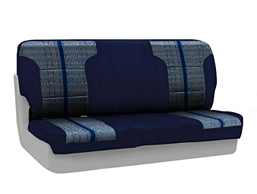 (Coverking Custom Fit Front Front Bench Seat Cover for Select Chevrolet Models - Saddleblanket (Dark Blue with Neosupreme Navy Blue Sides))