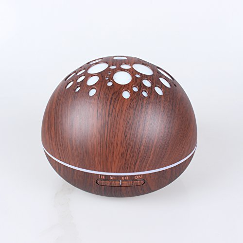 (LUOYIMAN Humidifiers 300ml Cool Mist Humidifier Ultrasonic Aroma Essential Diffuser Automatic Shut-off with Variable Night Lights (Deep wooden color))