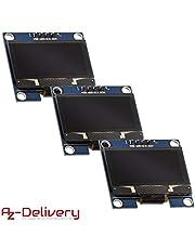 AZDelivery 3 x Display OLED 1,3 pollici 128x64 Pixel I2C schermo retroilluminato per Arduino, Raspberry Pi con eBook