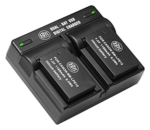 BM Premium 2-Pack of LP-E12 Batteries and USB Dual Battery Charger for Canon SX70 HS, Rebel SL1, EOS-M, EOS M2, EOS M10, EOS M50, EOS M100 Mirrorless Digital ()