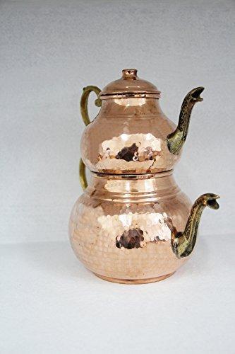 Grandbazaarshopping Copper Turkish Tea Maker, Samovar, Artisan Handmade, Traditional Turkish Tea Maker, Tea Pot
