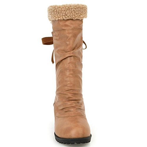 Lined Warm Yellow Boots COOLCEPT On Women Pull XqwvU