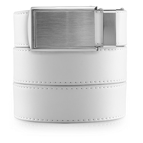 SlideBelts Men's Vegan Leather Belt without Holes - Silver Buckle/White Leather (Trim-to-fit: Up to 48