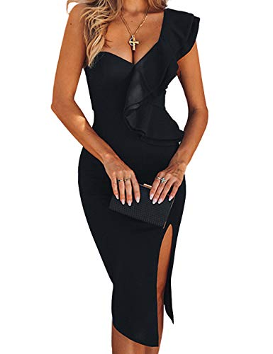 UONBOX Women's One Shoulder Sleeveless Knee Length Side Split Fashion Bandage Dress Black L