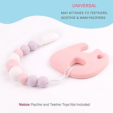 TYRY.HU Clips para chupete de silicona para bebé Cadenas de chupete Perlas de dentición Cadena de chupete Regalo de ducha infantil Juguetes para ...
