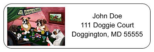 Home of Boxers 4 Dogs Playing Poker Return Address Label