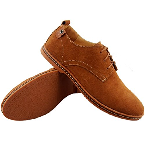 DADAWEN Mens Classic Suede Leather Oxford Dress Shoes Business Casual Shoes Khaki Mf7ZuX7