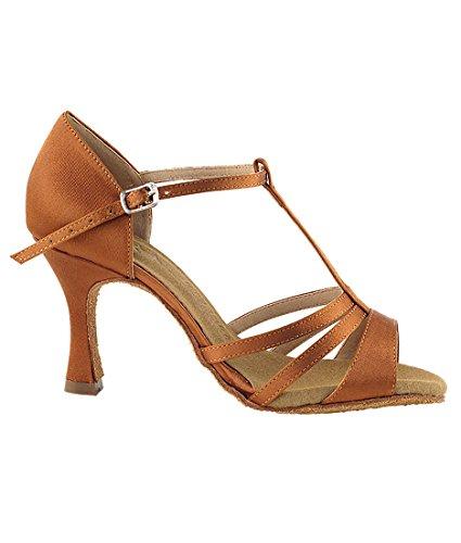 Very Fine Ballroom Latin Tango Zapatos De Baile De Salsa Para Mujeres Sera1683 2.5 Pulgadas De Tacón + Cepillo Plegable Paquete Dark Tan Satin