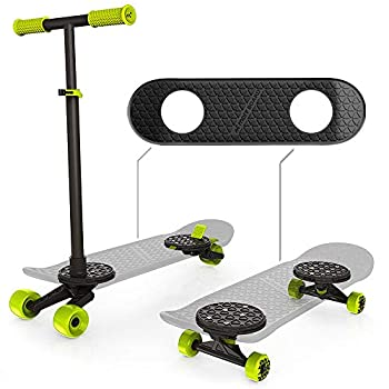 Image of Decks MORFBOARD Skate & Scoot Combo, 2-in-1 Kick Scooter for Kids with 3-Position Adjustable Height and Extra Wide Skateboard Deck, For Boys or Girls 8 Years and Up, Supports 150 lbs