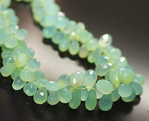 Natural Gems Jewelry Seafoam Green Chalcedony Faceted Tear Drop Briolette Gemstone Craft Loose Beads Strand 18