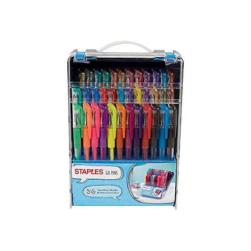 - Staples 911864 Gel Pens Assorted Point Sizes And Ink Colors 36/Pack