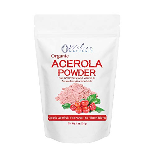 Wilson Naturals Organic Acerola Powder (Non-GMO) - Vitamin C Powder with Immune Factors Made from Wholefood Acerola Cherry. No Additives and Natural Minerals and Citrus Acid 114 Grams (28 Servings) Acerola Cherry Vitamin C