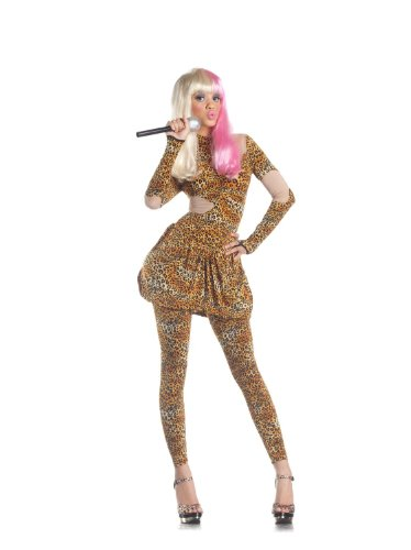 Celebrity Costumes - Party King Sexy Rap Star Leopard Print Celebrity Halloween Costume XL