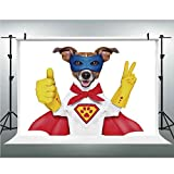 Photography Studio Prop Backdrop Background,Superhero,10x10ft,Super Puppy Hero Dog in Cape and Mask Costume Humor Funny Cute Picture Decorative
