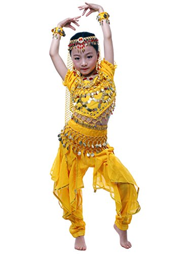 Astage Girls Cosplay Belly Dance Costume, Yellow-b, M (47in-52in)