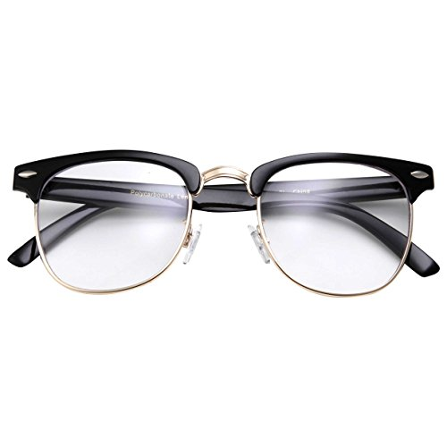 c79af333cb Amazon.com  grinderPUNCH - Mens Non Prescription Clear Lens Glasses  Black Gold  Clothing