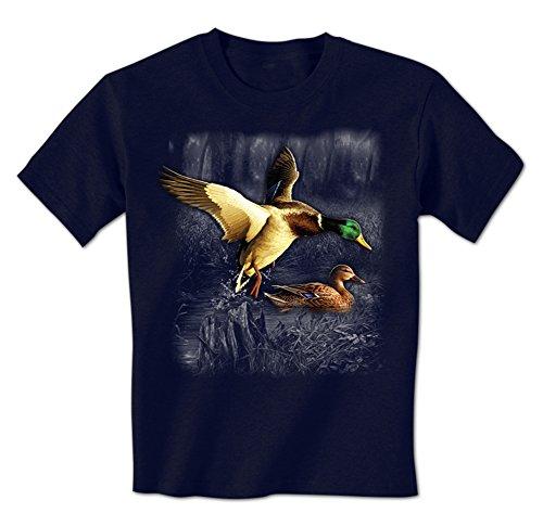 Duck Landing In A Pond - Spirit Wilderness Animal Ducks Swimming Mens T-Shirt Large (Large Landing Duck)