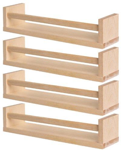 Ikea Bekvam Regalbrett-Set, für Bücher/Kinderzimmer/Küche etc., mit Querstange, Birkenholz, 4 Stück