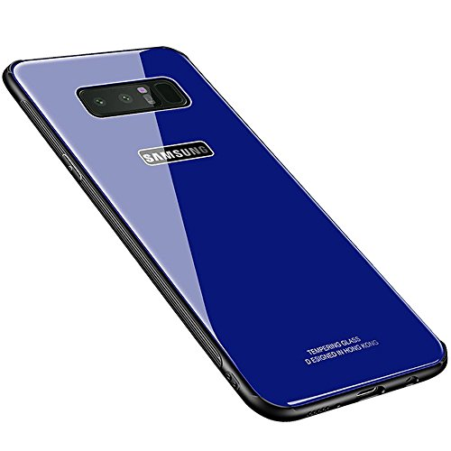 Galaxy Note 8 Case, HONTECH Silicone Shockproof Tempered Glass Mirror Back Bumper Cover for Galaxy Note8 (Blue)