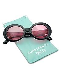 b874b1b94f1 SunglassUP - Retro Bold Arms Color Tinted Oval Lens Novelty Sunglasses 50mm