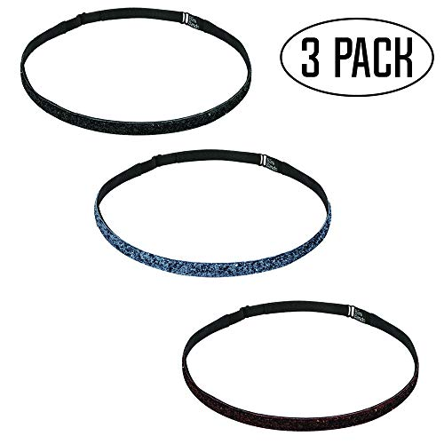 Silver Soccer Uniform - Bani Bands Girls Workout Sports Headbands | Glitter for Dance Jazz Cheer Volleyball Tennis Gymnastics | Colors to Match Costumes Uniforms Outfits | for Youth Teens Girls Women | Non-Slip | 3-Pack