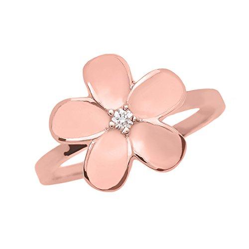 - Plumeria Flower Ring Diamond Band in 10k Rose Gold (Size 6)