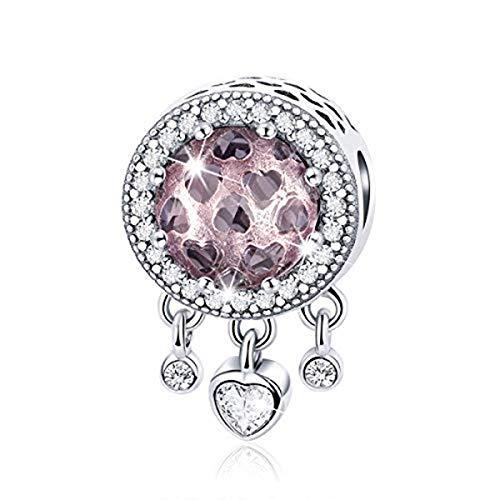 BAMOER Sterling Silver Birthstone Charm Bright Heart CZ Charm Bead for Charm Bracelet Gift