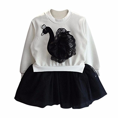 Girls Black White Smocked Dress (Anshinto Kids Child Girls Lace Yarn Black Swan Dress Long Sleeve Princess Dress (9, WHITE))