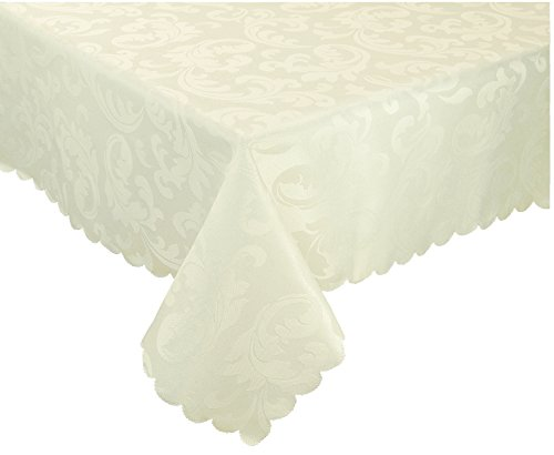 "EcoSol Designs Microfiber Damask Tablecloth, Wrinkle-Free & Stain Resistant (60x84"", Ivory) Foliate"
