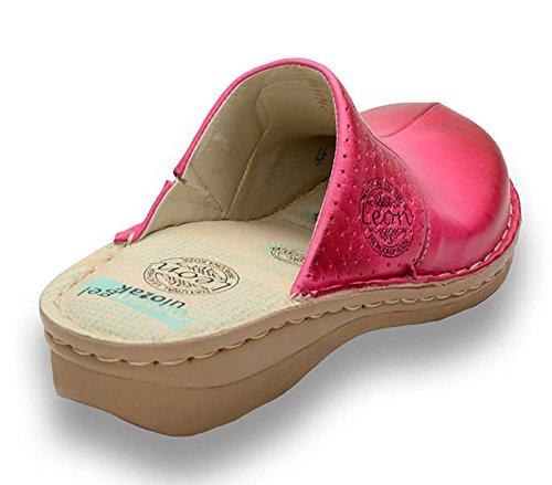 Femme Mules Rose En Chaussons Chaussures Dames Sabots 360 Cuir Leon zqpE00