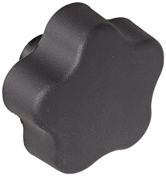 "DimcoGray Black Thermoplastic 5 Lobe Fluted Soft Feel Knob Female, Brass Insert: 3/8-16"" Thread x 5/8"" Depth, 2-3/8"" Diameter x 1-5/8"" Height x 3/4"" Hub Dia x 11/16"" Hub Length (Pack of 10)"