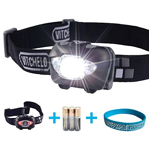 VITCHELO V800 Headlamp with White and Red LED Lights. Waterproof IPX6 and 168 Lumens Bright Head Light. 3 AAA Panasonic Batteries Included (Black)