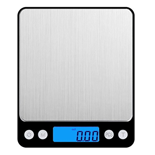 AMIR Digital Kitchen Scale, 3000g 0.01oz/ 0.1g Pocket Cooking Scale, Mini Food Scale, Pro Jewelry Scale with Back-Lit LCD Display, Tare & PCS Functions, Stainless Steel, Batteries Included (0.1g Digital Pocket Jewelry)