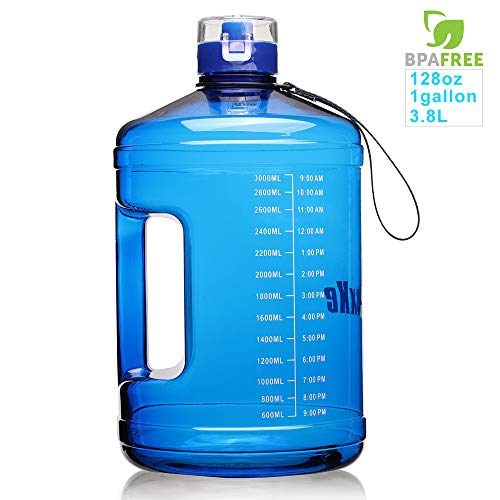 SIuxKe 1 Gallon Big Water Bottle Motivational Fitness Workout with Daily Time Marker| Reusable Leak-Proof | Clear BPA-Free Water Jug |128 OZ/74 OZ for Outdoor Camping Hiking ()